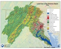 A map of land use in the Potomac River Basin.