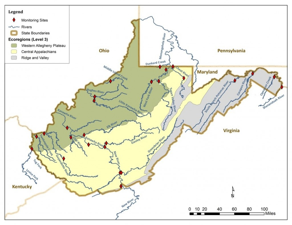 A map of the West Virginia EPA sampling stations