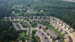 An aerial view of a housing development.