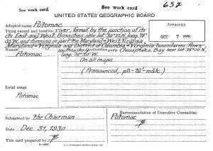 U.S. Geographic Board Decision Card
