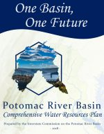 Cover Page: An outline of the basin that has a photo with a bridge, trees, and lake. The tagline, One Basin, One Future, is at the top and the title, Potomac River Basin Comprehensive Water Resources Plan, is at the bottom.