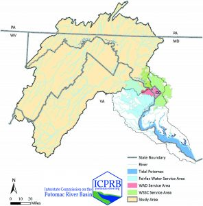 A map cutout of the Potomac River watershed showing the study area and the source water for the water suppliers.