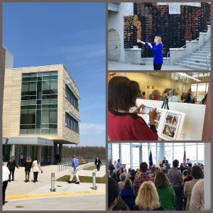 Four photos: 1) A side of the PEREC building, 2) A crowd watching a speaker at a podium, 3) A woman taking a photo of a display, 4) A woman talking about the PEREC center to a crowd.