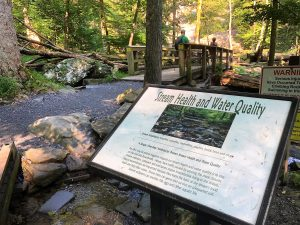 A sign in front of a boardwalk that looks over the Cunningham Falls. The sign talks about water quality.