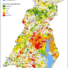 A map showing stream health within the Chesapeake Bay.