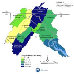 Map of unreported water use in the Potomac River basin.