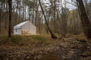 Canvas tent on the side of a creek surrounded by trees.