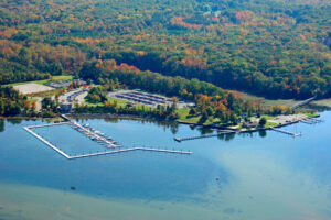 An aerial view of the marina at Smallwood State Park.