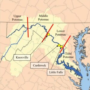 A map of the Potomac River basin indicating the three reaches of the river that were surveyed.